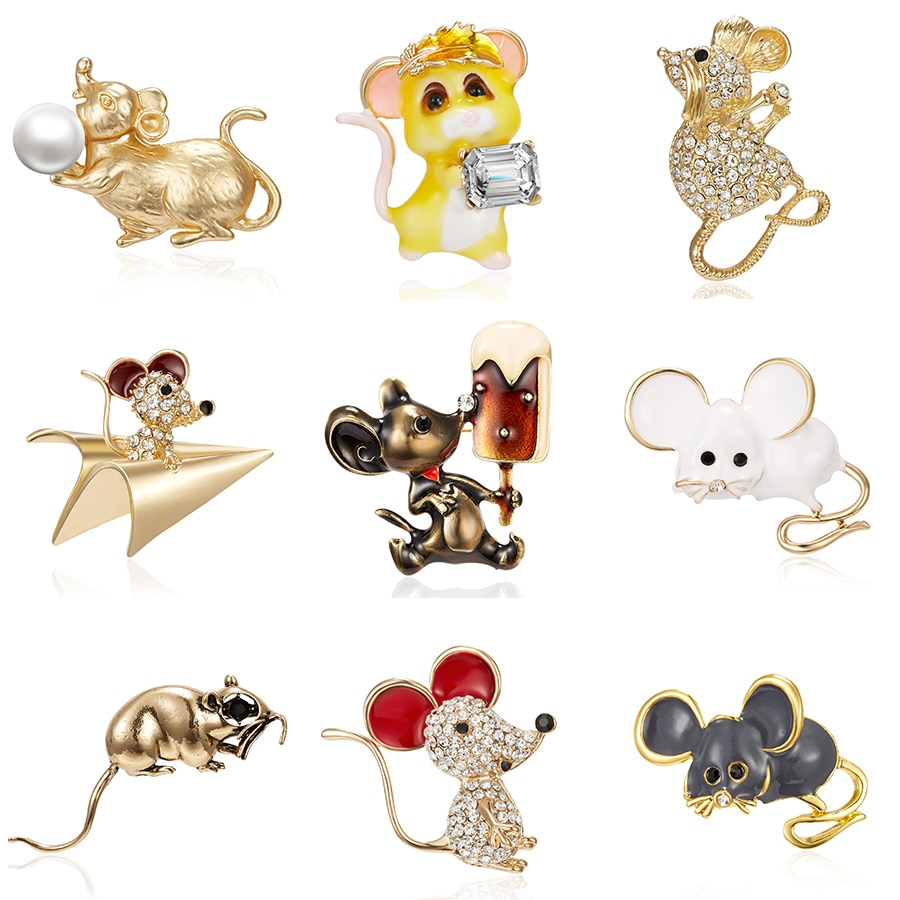 Эмаль, Зодиак, крыса, год, мышь, животное, брошь, держащая ледяную бумагу, самолет, жемчуг, немой Золотой Стразы, картина маслом, маленькая брошь