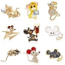 Broche de ratón esmaltado con forma de rata zodiacal año con soporte de papel hielo para avión perla de oro mudo cuadro de diamantes de imitación broche pequeño de aceite