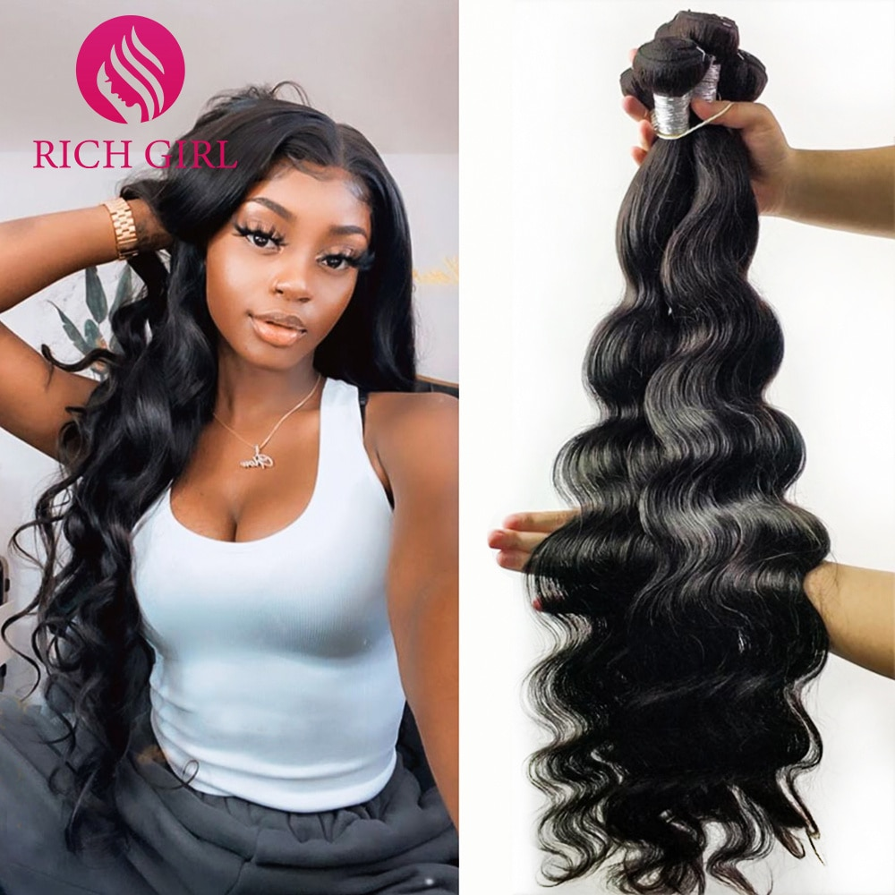 Richgirl 32 34 36 38 40Inch Body Wave Human Hair Bundles Brazilian Remy Hair Extensions 1/3/4 Pcs De