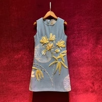 end new outfit high custom chinese wind heavy nail bead show thin vest dress elegant temperament
