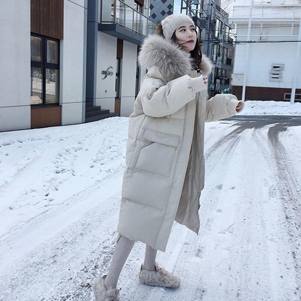 المرأة مزدوجة الوجهين أسفل مع معاطف الفراء سترة طويلة أوكرانيا الشتاء الياقة المدورة الأبيض بطة أسفل معطف دافئ باركاس الثلوج أبلى