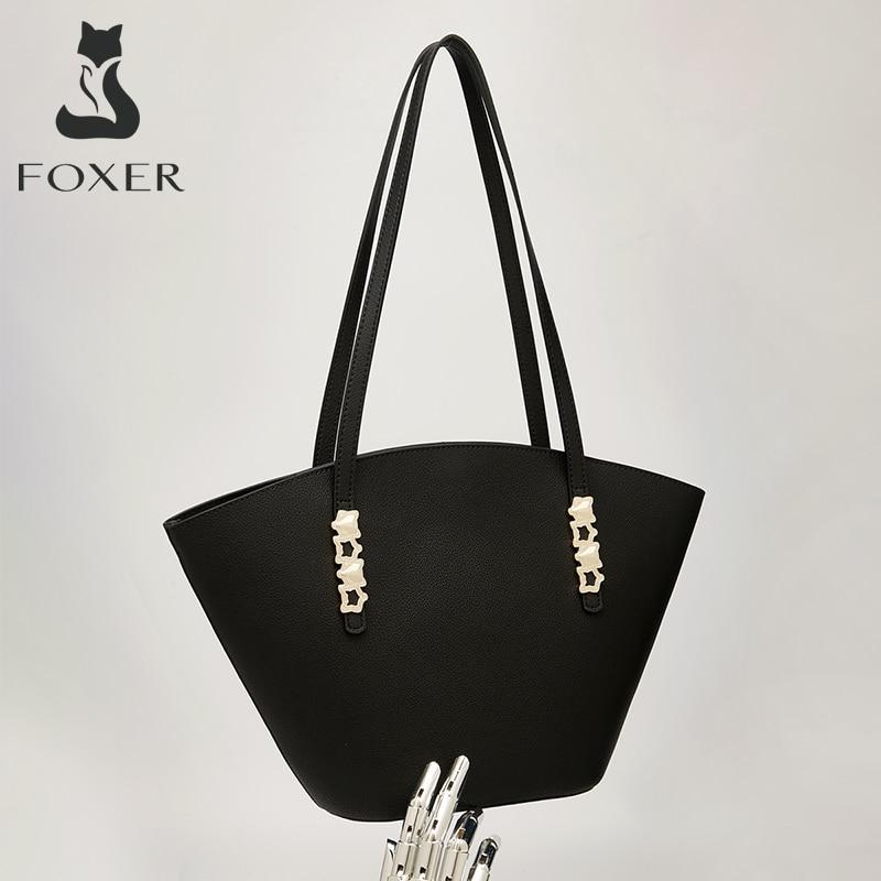 FOXER الموضة السيدات انقسام حقيبة الجراب الجلدية حقيبة المتخصصة الرجعية الركاب مكتب المرأة حقيبة يد عالية الجودة صورة الأم حقيبة كتف