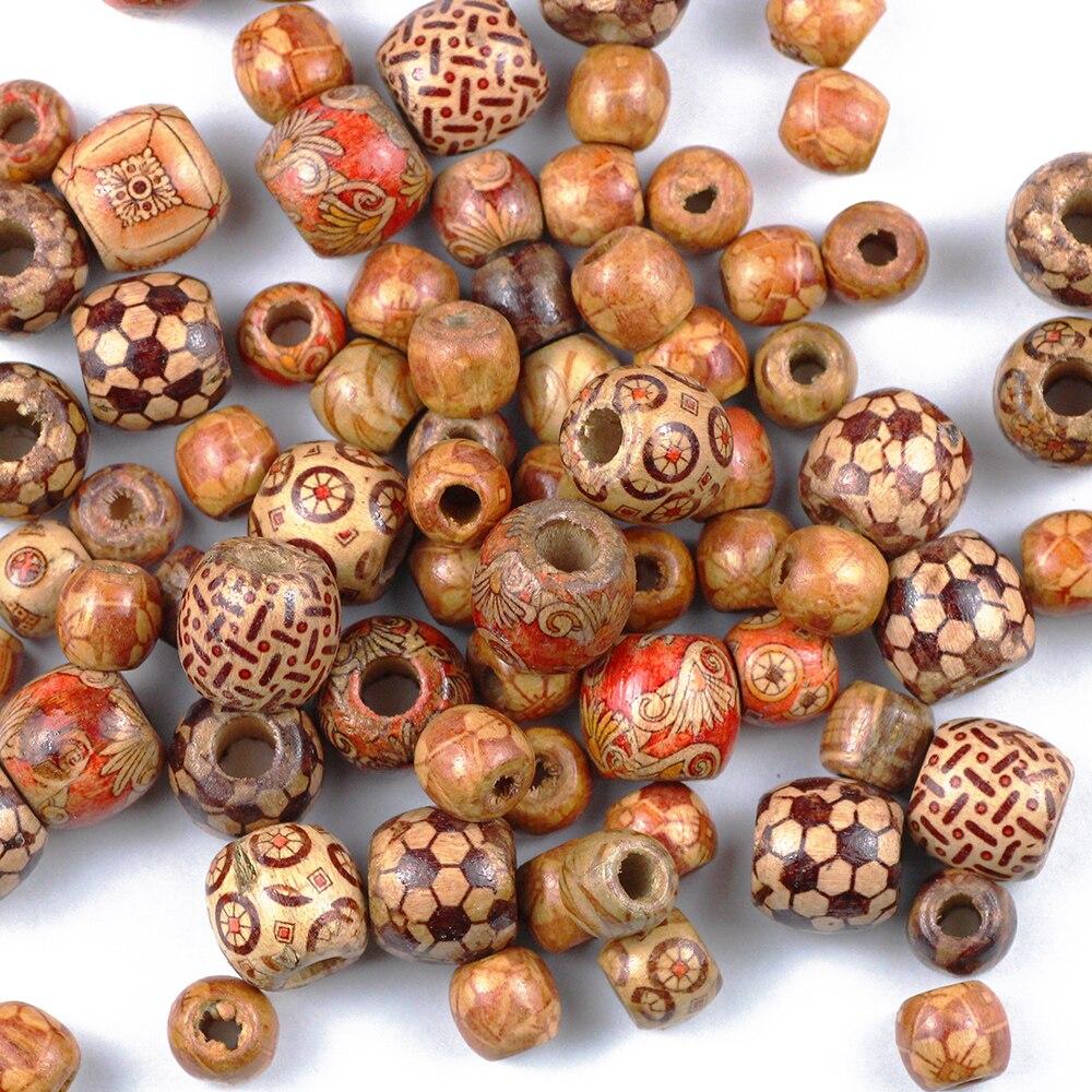 Деревянные бусины с отверстием для изготовления ювелирных изделий, круглые, с большим отверстием бусины для изящных браслетов «сделай сам»...