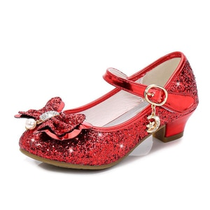 New Children Girls Leather Shoes High Heels Wedding Princess Girls Shoes Glitter Sequins Teenager Party Shoes High Heels Sandals