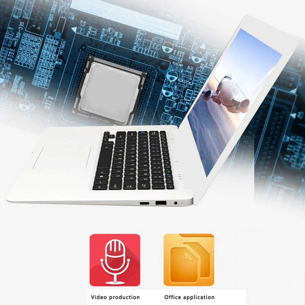 14 Inches 2GB Ram 1080p Windows 10 System 1366 x768 Screen Computer Four Core Cpu 32GB Rom White Laptop enlarge