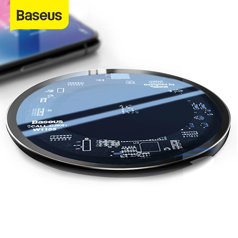 Беспроводное зарядное устройство Baseus 10W Qi для iPhone X/XS Max XR 8 Plus Видимый Элемент Беспроводная зарядная панель для samsung S9 S10 + Note 9 10