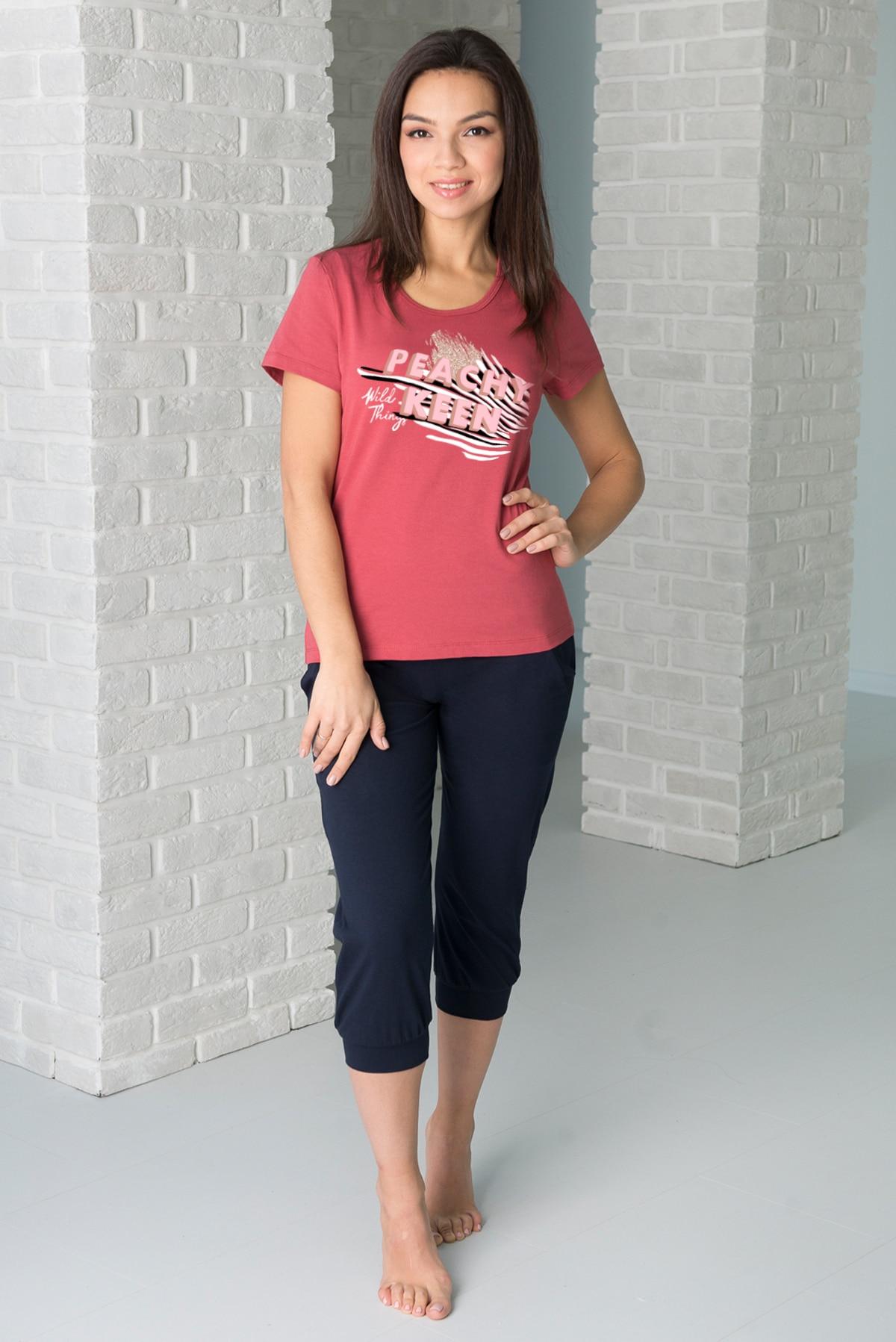 Женский домашний костюм 42 52 размеры Кулирка футболка с коротким рукавом, круглвм вырезом и принтом, бриджи ниже колен с манжет