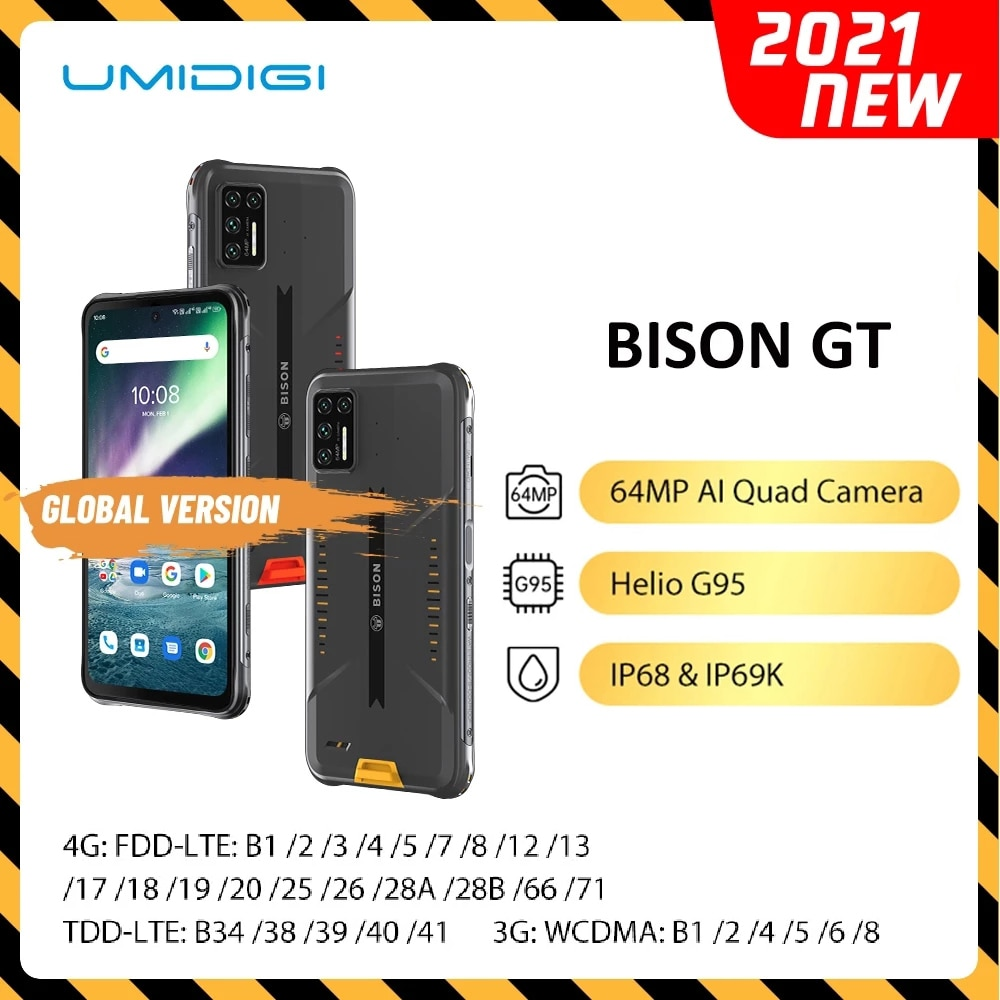 Перейти на Алиэкспресс и купить UMIDIGI BISON GT Прочный телефон водонепроницаемый IP68/IP69K 8 ГБ + 128 Гб Смартфон Helio G95 64MP AI Quad Camera 6,67 дюймFHD + 33 Вт Зарядное устройство