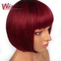 short straight bob wigs with bangs human hair brazilian hair wigs for women ombre wig t1b bg 30 blonde bob wigs free shipping