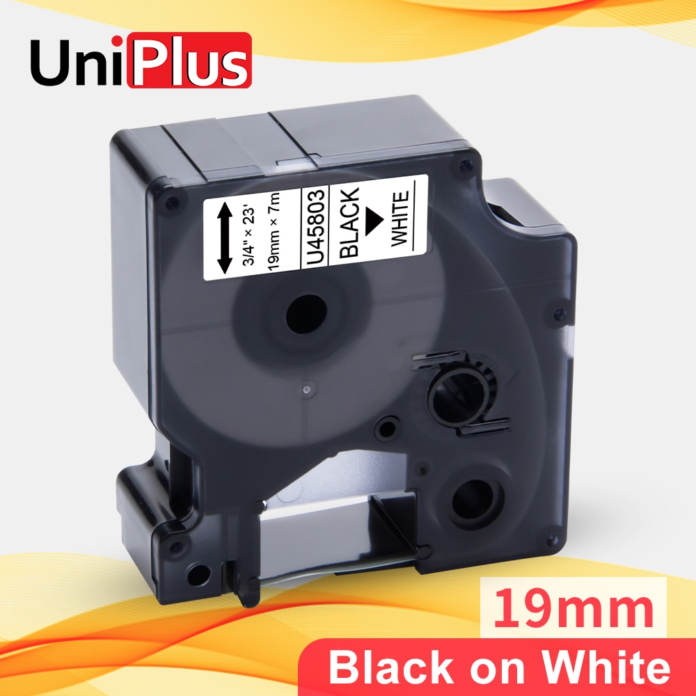 UniPlus черный на белом 19 мм LabelMaker Замена для Dymo D1 45803 7 м длина этикетки ленты для LM360D LM420P принтер ленты