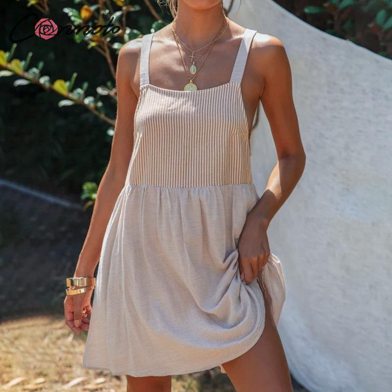 Conmoto-vestido patchwork de talle alto, informal, con botones, tirantes finos, de talla grande, a rayas, para mujer