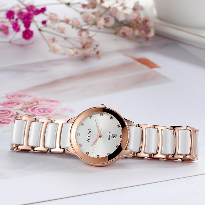 OUPAI 2019 موضة جديدة وصول ساعة سيراميك فاخرة المرأة كوارتز ساعة عادية سيدة مقاوم للماء حزام السيراميك RA51DO ساعة معصم