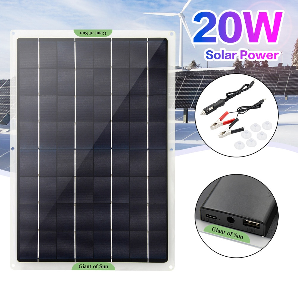 5 واط 10 واط 20 واط لوحة الطاقة الشمسية المحمولة أحادية البلورية الطاقة الشمسية لوحة طاقة شمسية للشمس لوحة طاقة شمسية للسفر والمنزل شحن USB مزدوج
