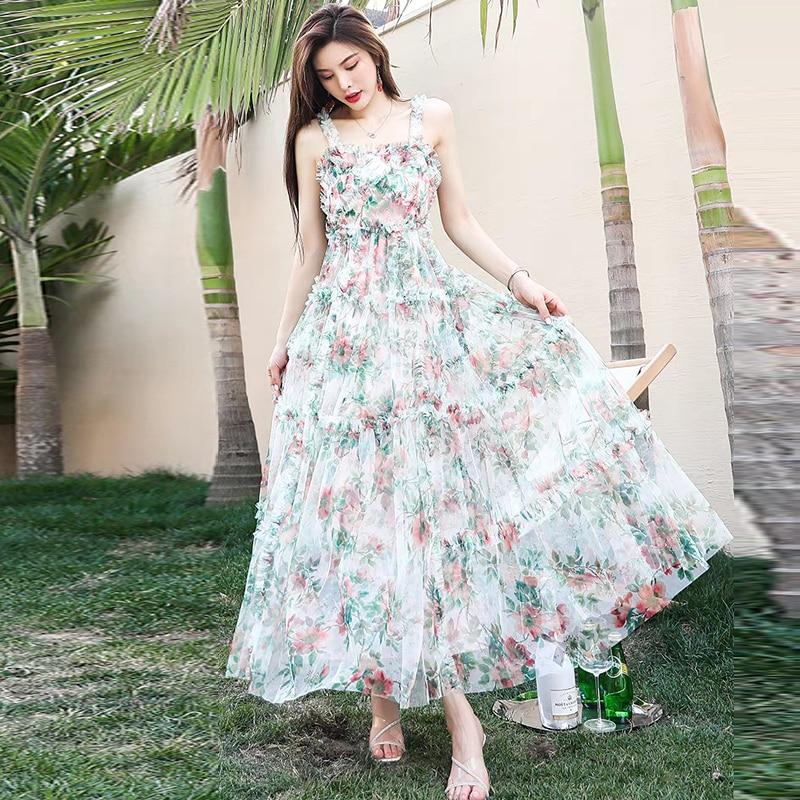 فستان طويل مصمم موضة صيف جديد للمرأة عطلة البوهيمي حفلة مثير موضة أنيقة طباعة صافي غزل الحمالات فساتين