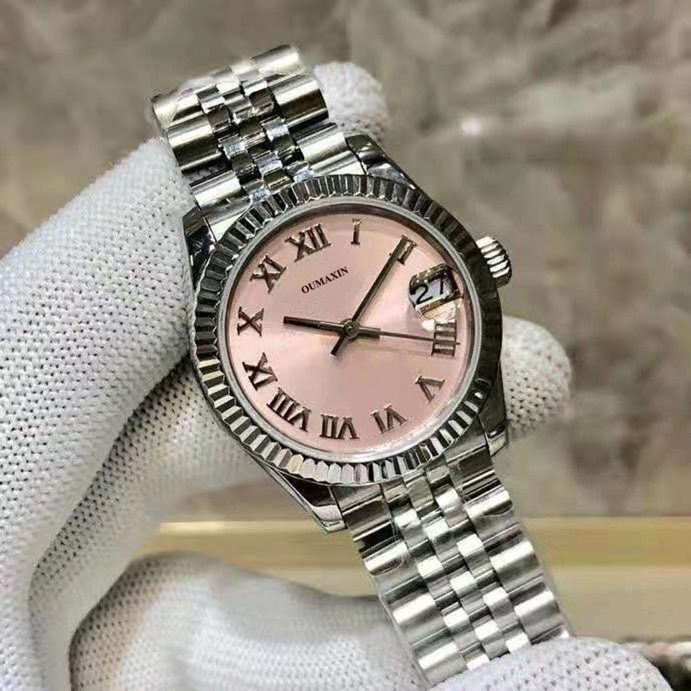 luxury brand 31mm ladies watch automatic mechanical sapphire 316L stainless steel pink dial ladies clock12633