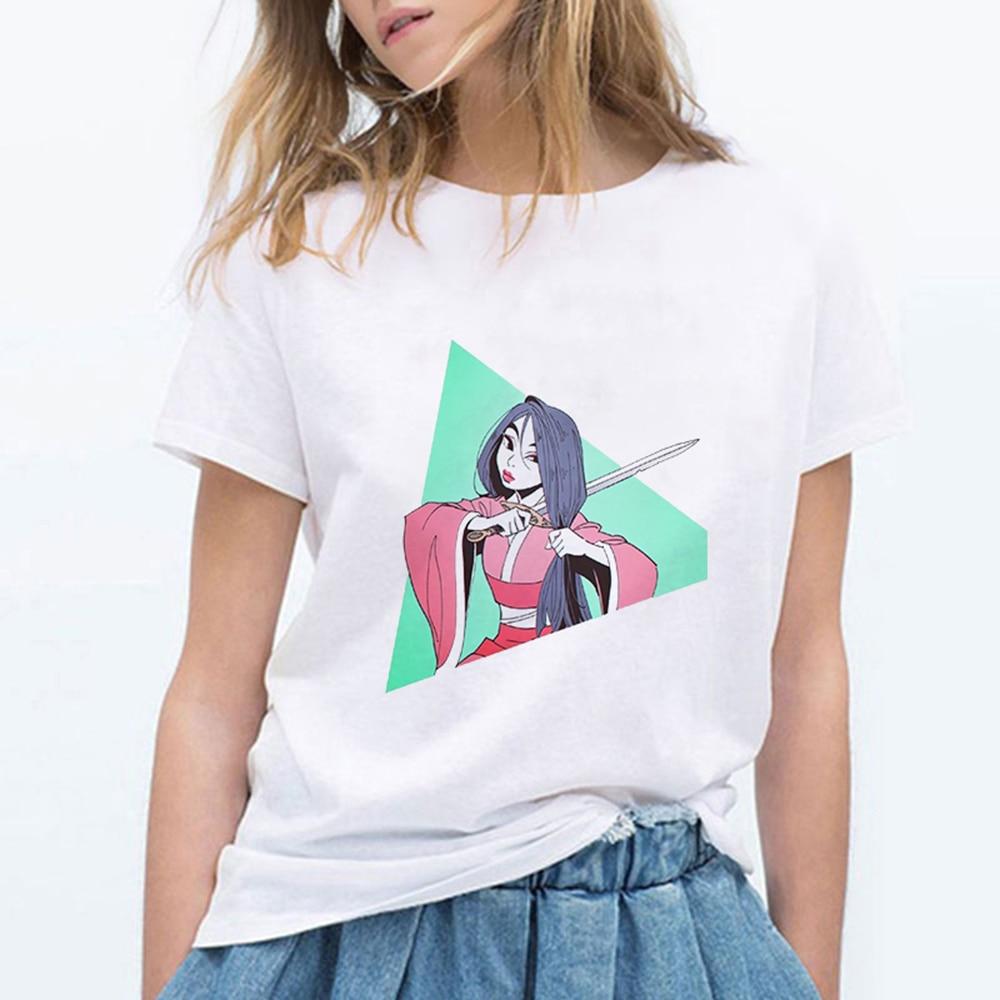 Лето принцесса Мулан срезанные волосы печатных Harajuku Забавные футболки женские милые размера плюс уличный сверхразмерный панк Эстетическая одежда