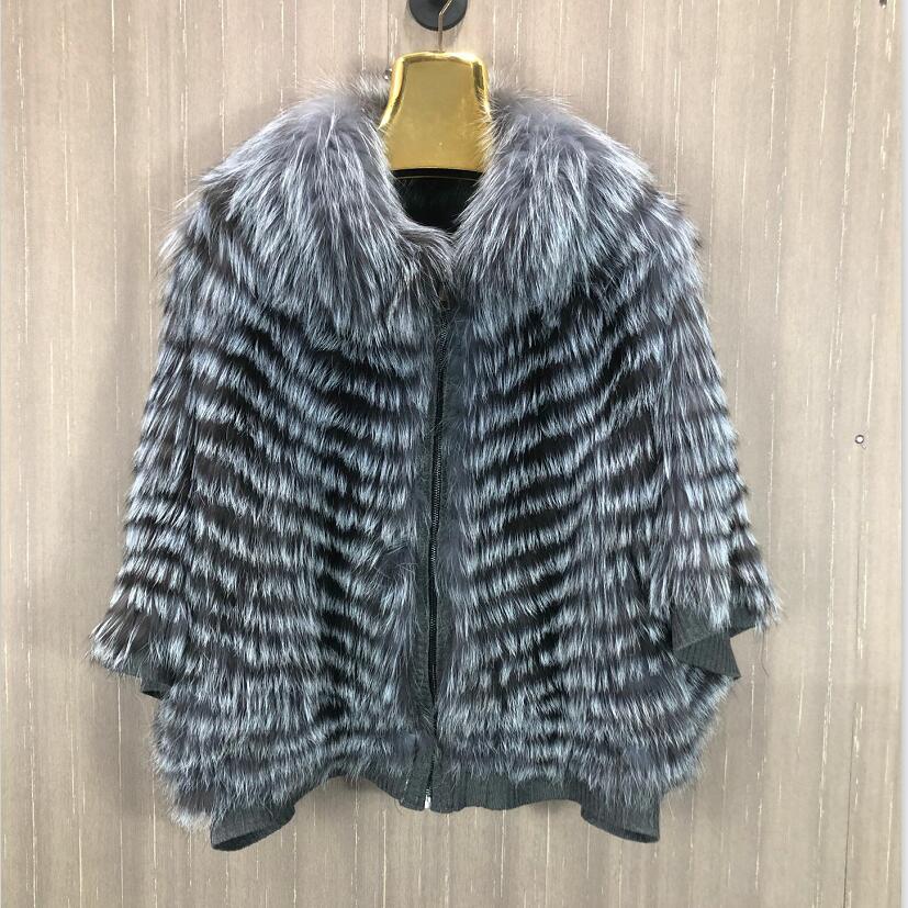 2021 silver fox fur coat knitted fox fur coat raccoon fur clothing real fox fur knitted coat