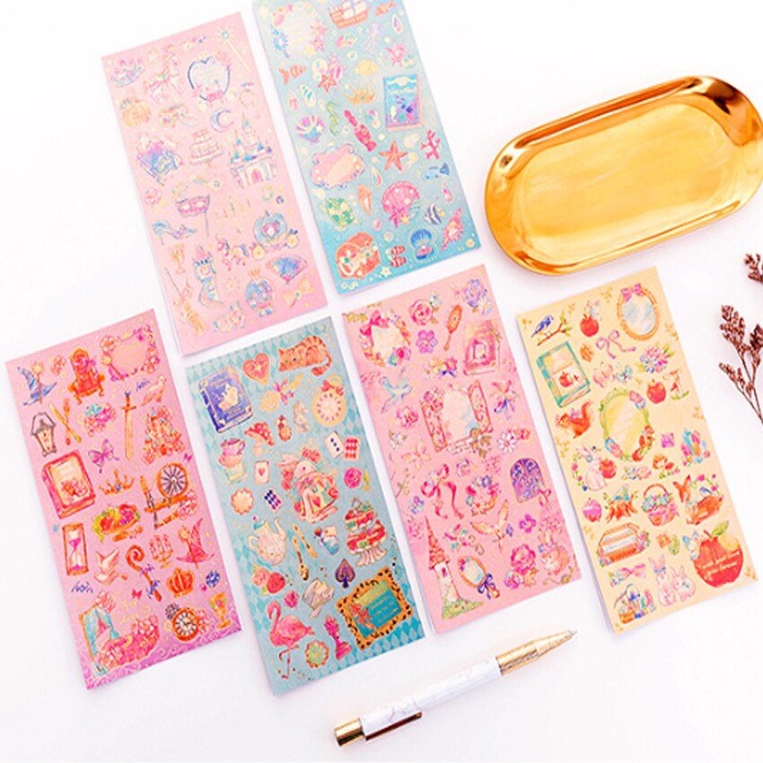 free shipping 40packsRomantic dream beautiful fairy tale world princess flower decoration hot stamping sticker