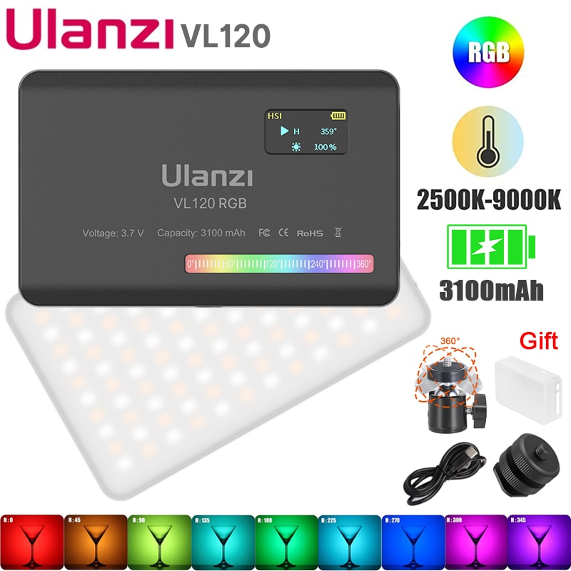 Ulanzi فيجيم VL120 RGB الفيديو الضوئي كاميرا ليد ضوء كامل اللون 3100mAh عكس الضوء 2500K-9000K ثنائي اللون مصباح لوح إضاءة الاستوديو