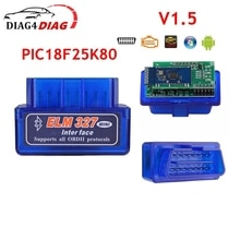 ELM327 V1.5 OBD2 Interface Diagnostic Scanner Tools Dual Chips PIC18f25k80 for Many Cars for Android Torque Bluetooth-Compatible
