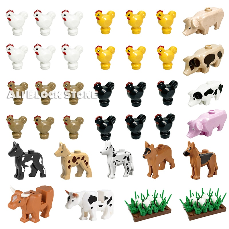 moc 38943 action figure demogorgobed bricks compatible with small building blocks assemble kid s children s toys gifts MOC Blocks Dog Pig Chicks Fish Egg Chicken Coop Carrot Grass Assemble Building Blocks Diy Bricks Gifts Toys Children Kid