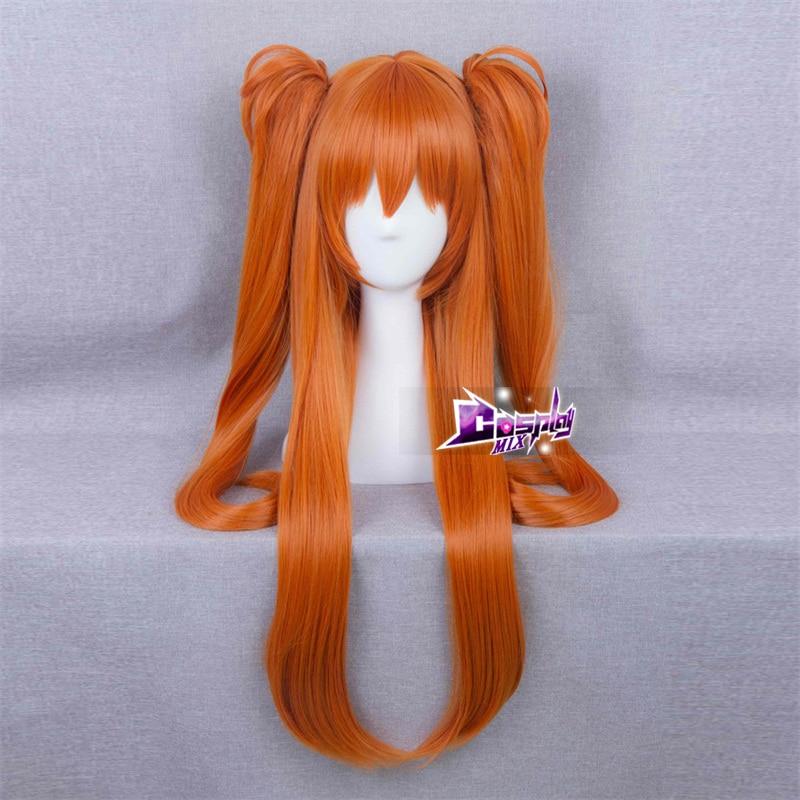 CosplayMix Navidad fiesta de Halloween mujeres Anime Cola de Caballo largo naranja ondulado Cosplay peluca sintética resistente al calor + gorra de peluca