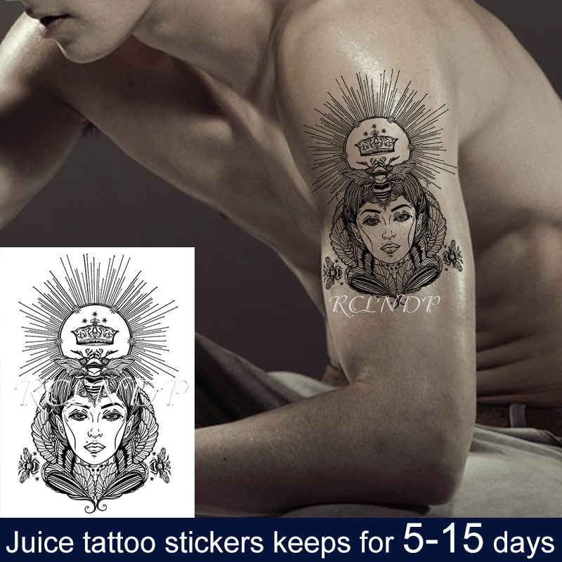 Tatuaje de jugo temporal a prueba de agua pegatina reina abeja alas corona flor Flash tatuaje falso Back Arm Art para hombres y mujeres