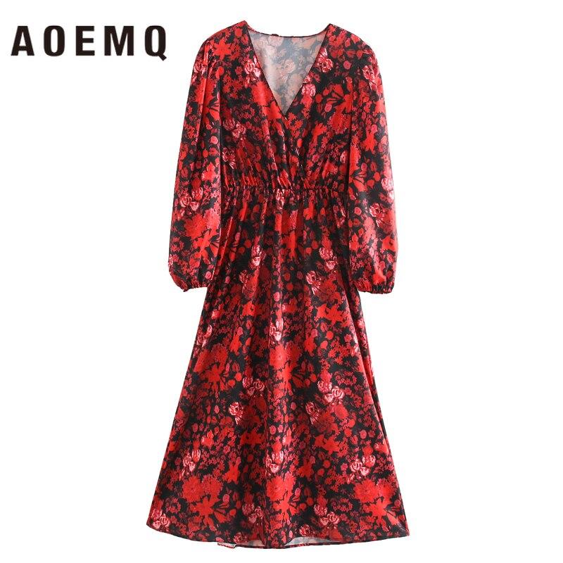 AOEMQ, vestido de primavera con estampado Floral rojo, Inglaterra, vestido clásico con hebilla de succión, ropa para casa, Relax para Club nocturno y fiesta, ropa para mujer