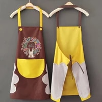 kitchen wipeable waterproof oil proof cartoon wreath rabbit kitchen nail shop apron for women baking accessories 9070cm