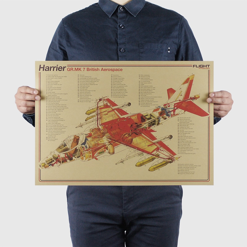 AIMEER Klassische Kämpfer Series-Harrier-MK7/Nostalgischen Vintage Kraft Papier Poster Dekorative Malerei Kern Wand Aufkleber 51*36cm