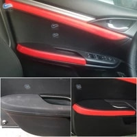 for honda civic 10th gen 2016 2017 4pcs microfiber leather door handle panels armrest cover black with red edge