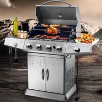 commercial outdoor stainless steel gas grill frying steaming charcoal dual purpose patio villa courtyard home barbecue machine