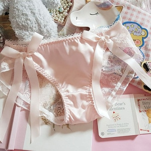 Japanese Ruffle Panties Ribbon Bow Sexy Hollow Lace Satin Young Girls Underpants Underwear Brief Thong Lingeries