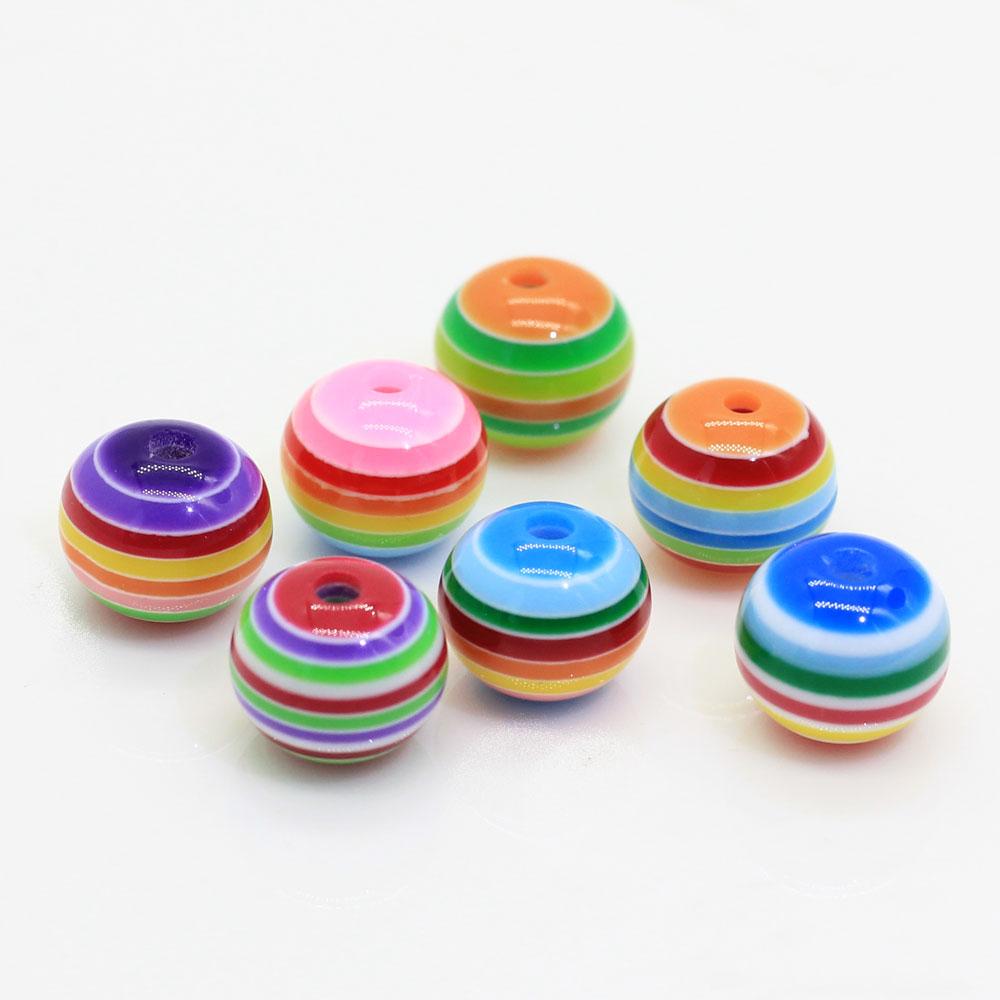 100 pces design cordial colorido arco-íris cor 20mm resina listra grânulos para colares e pulseiras grossos