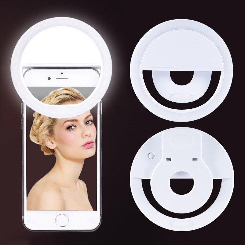 36 LED luce portatile telefono notturno luce Flash Led fotocamera Clip-on telefono cellulare Selfie Ring Light Video ricarica Usb per tutti i telefoni