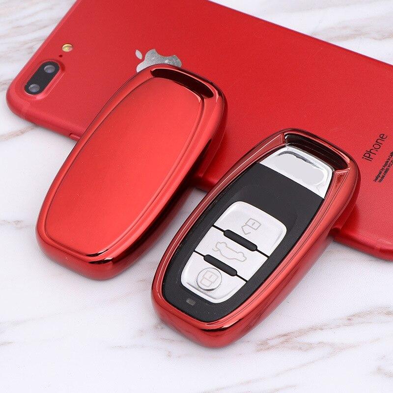 Capa para chave inteligente automotiva, capa tpu remota para audi a1 a3 a4 a5 a6 a7 a8 quattro q3 q5 q7 2009 2010 2011 2012 2013 2014 2015