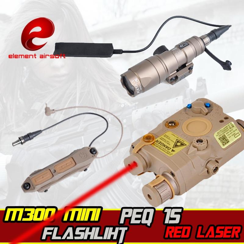 Elemento airsoft surefir m300 mini wapen luz laser ir peq 15 rifle arma interruptor de controle duplo arma tático lanterna