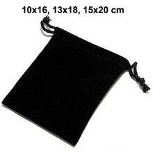50 teile/los 10x16, 13x18, 15x20 cm Schwarz Kordelzug Beutel Samt Taschen Für Schmuck Weihnachten Verpackung Geschenk Tasche Kann Individuelles Logo