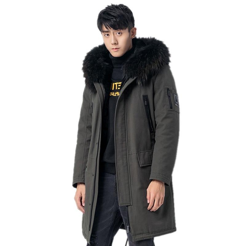 Manteau de fourrure véritable doublure de fourrure de vison naturel Parka chaude hommes veste dhiver col de fourrure de raton laveur longs manteaux grande taille Z1818800 MY1839