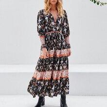 TEELYNN-robe maxi style bohémien, en coton, en rayonne, imprimé Floral, tenue de plage, taille élastique, style boho, pour femmes, collection 2020