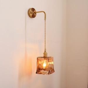 Nordic Retro Wall Light E27 Sained Glass Japanese Brass Lamp Bathroom Mirror Lamp Simple Decor Living Room Bedroom Bedside Lamp