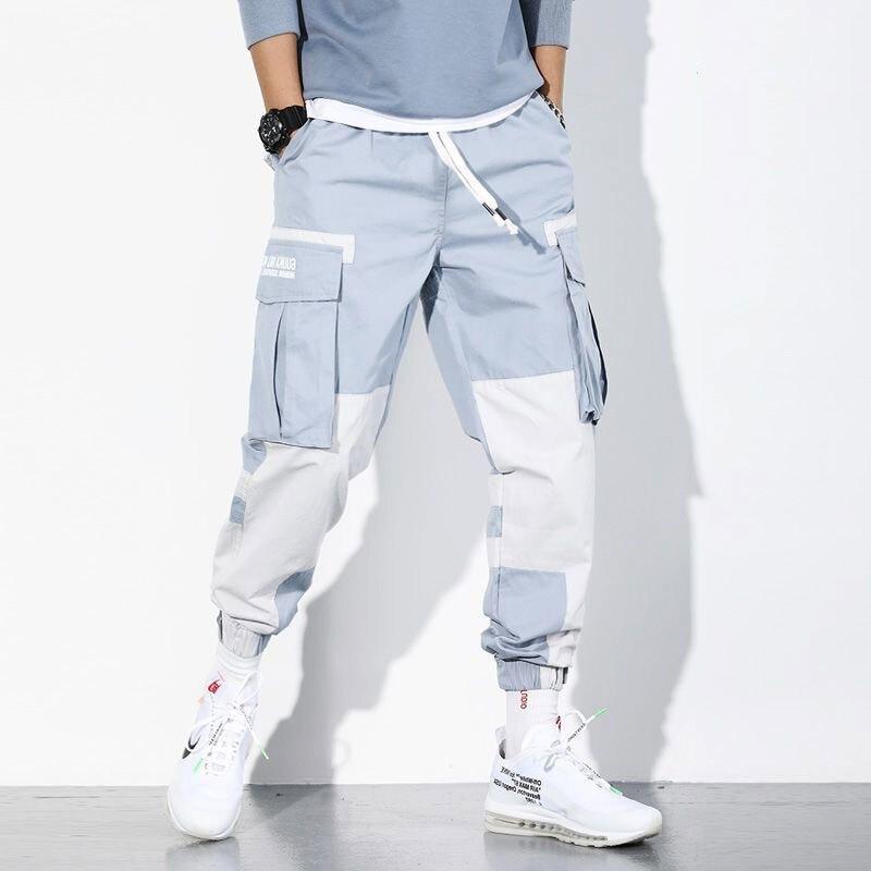 Штаны-карго HOUZHOU мужские, джоггеры, спортивные синие брюки-карго, Повседневная Уличная одежда в Корейском стиле, сращивающиеся хип-хоп