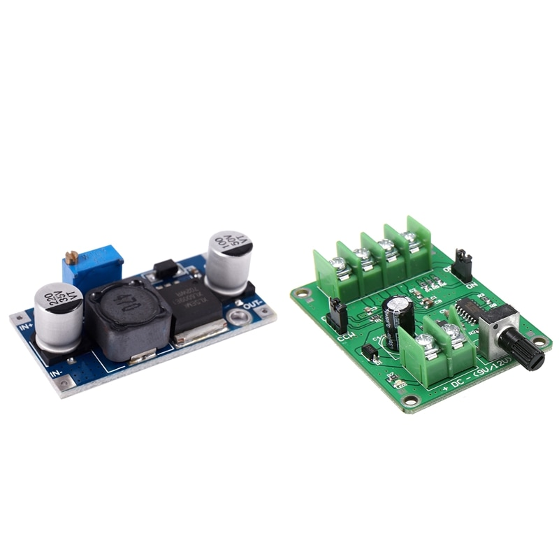 1 pièces Xl6009 3-32V à 5-35V adaptateur dc-dc Module de carte de Booster et 1 pièces 5V-12V contrôleur de carte de pilote de moteur sans balais cc f