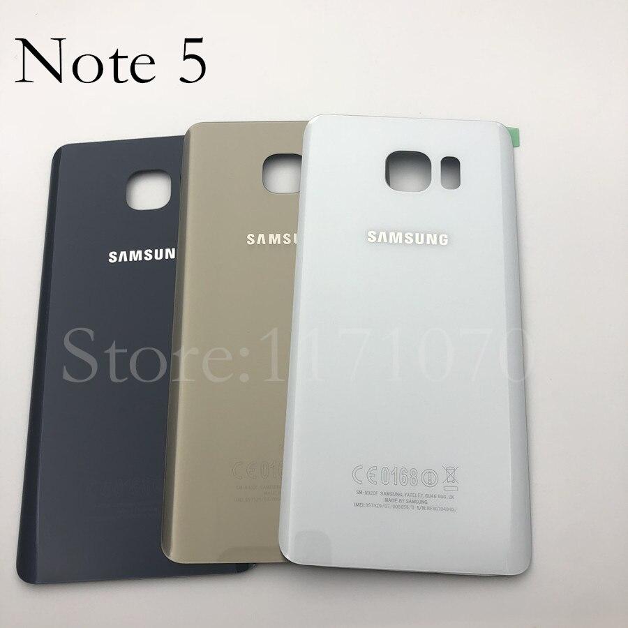 Cubierta trasera de batería de cristal para Samsung Galaxy Note 5 N920 N920F N9200 N920FD, carcasa de batería, pegatina adhesiva