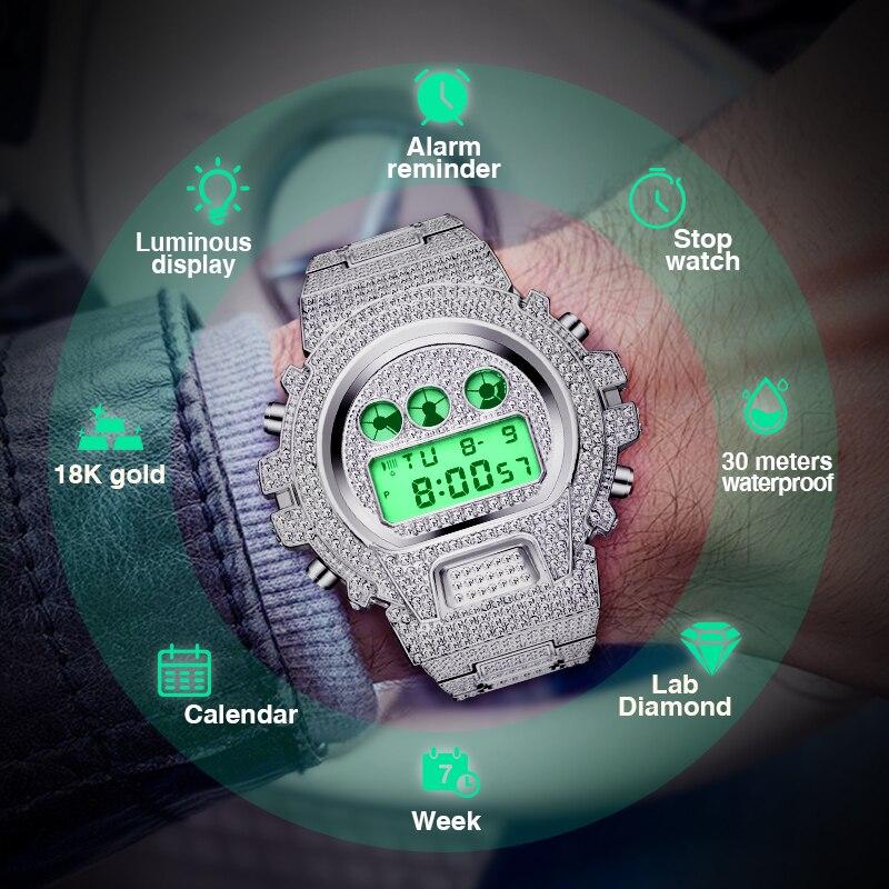 Новинка, мужские часы MISSFOX G style Shock, Топ бренд, Роскошные, Rolexable, цифровые часы для мужчин, с бриллиантами, мужские часы, хип-хоп, Iced Out, часы