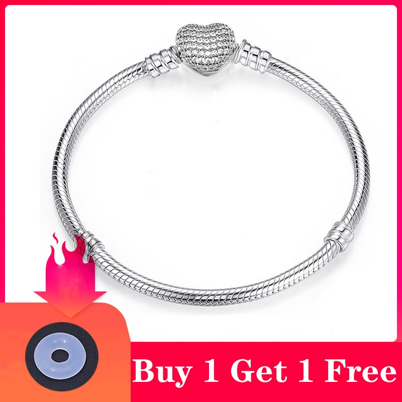 CHIELOYS High Quality Authentic Silver Color Snake Chain Fine Bracelet Fit European Charm Bracelet f