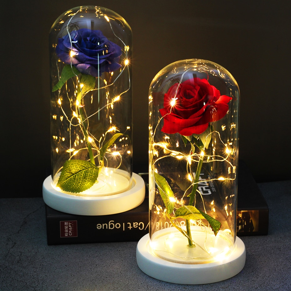 LED La Bella y La Bestia con pilas de Red flor cuerda romántica regalo de San Valentín regalo decoración Dropshipping