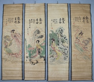 China scroll painting Four screen paintings Middle hall hanging painting Beauty female Painting