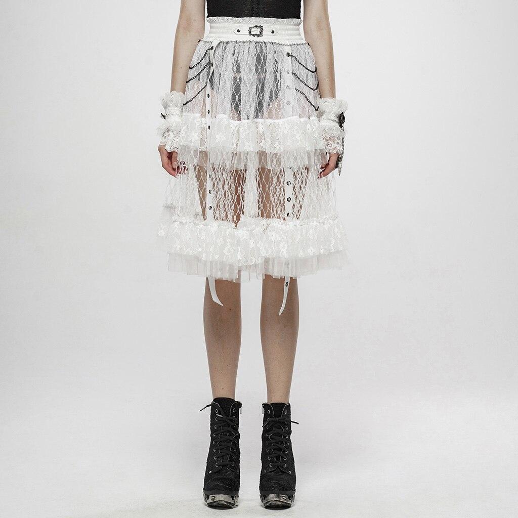 Falda de jaula PUNK RAVE Taboo de Lolita para mujer, estilo Punk antiguo, hebilla decorativa, malla de encaje translúcida, falda Performace