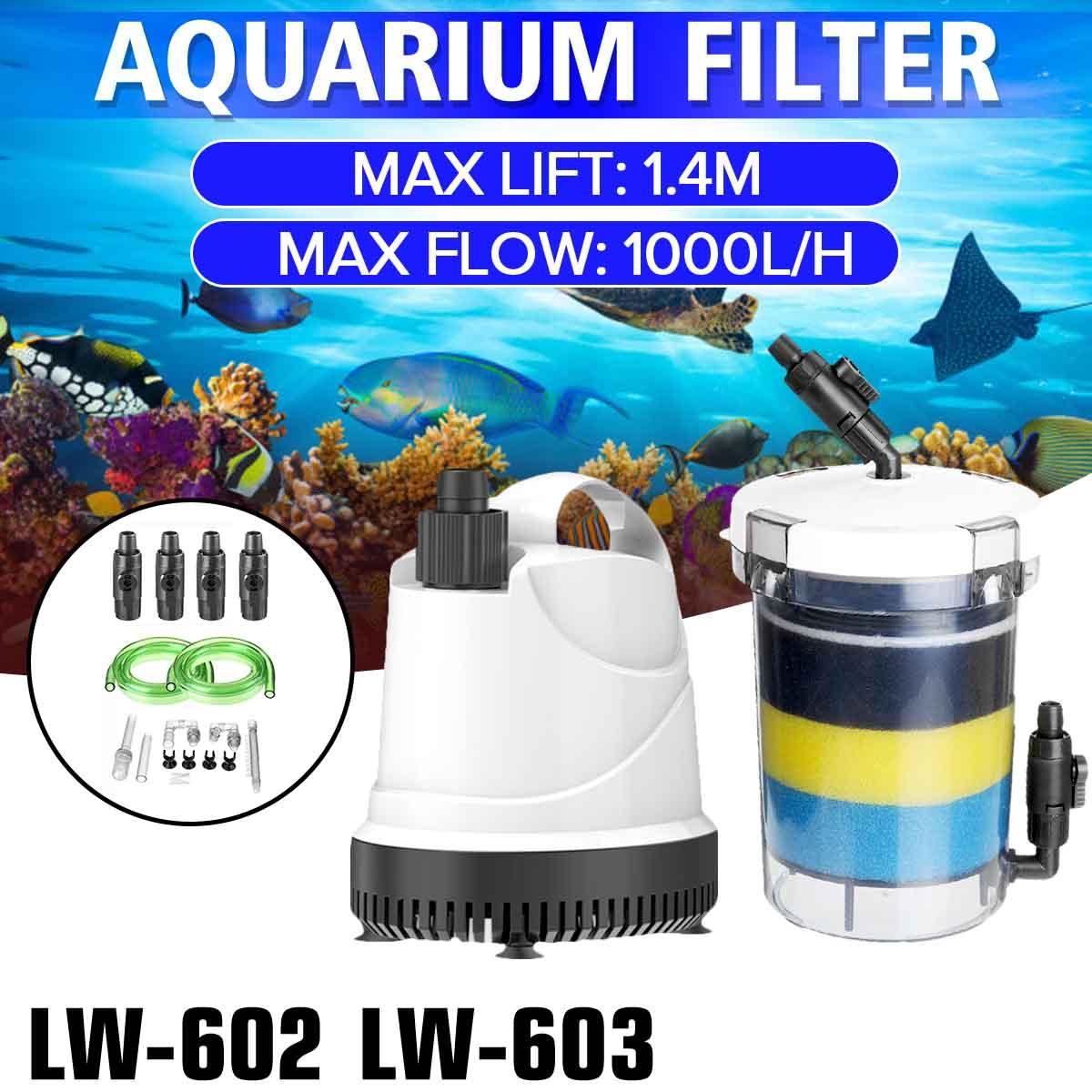 Filtro de pecera 220 V-240 V Filtro de acuario externo Ultra silencioso cubo Filtro de acuario bomba LW602 LW603 EW-604 B 1000L/h